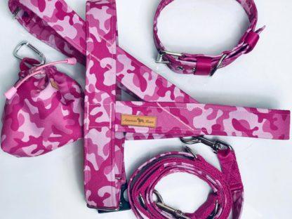 różowe moro norweskie, obrożaa na klamrę, s,mycz przepinana, woreczek