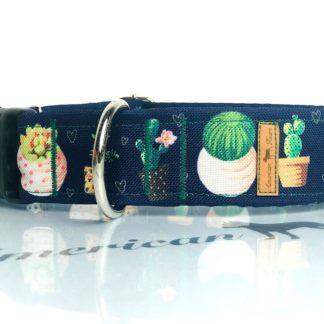 Kaktusy na granacie obroża na zatrzask 4 cm