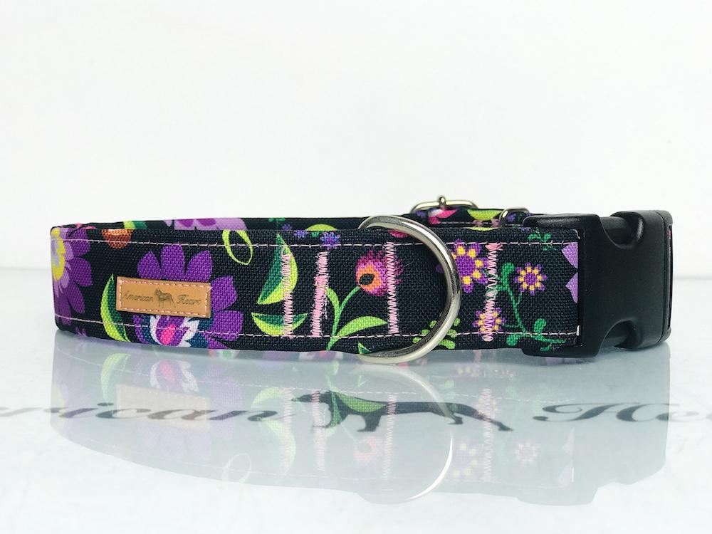 Łowicz fioletowy obroża na zatrzask 3 cm