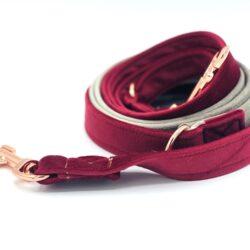 Smycz przepinana 250 cm. – Elegant&soft – bordo:beż