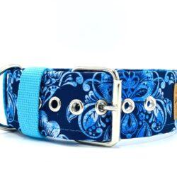Błękitne ornamenty - obroża na klamrę 5 cm