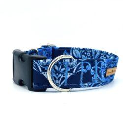 Błękitne ornamenty - obroża na zatrzask 3 cm