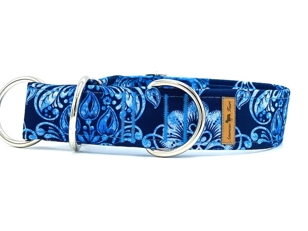 Błękitne ornamenty - obroża półzaciskoa 4 cm