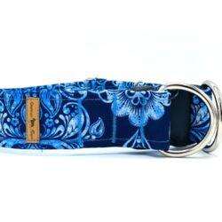 Błękitne ornamenty - obroża zatrzask z zabezpieczeniem 4 cm