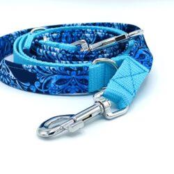 Błękitne ornamenty - smycz przepinana