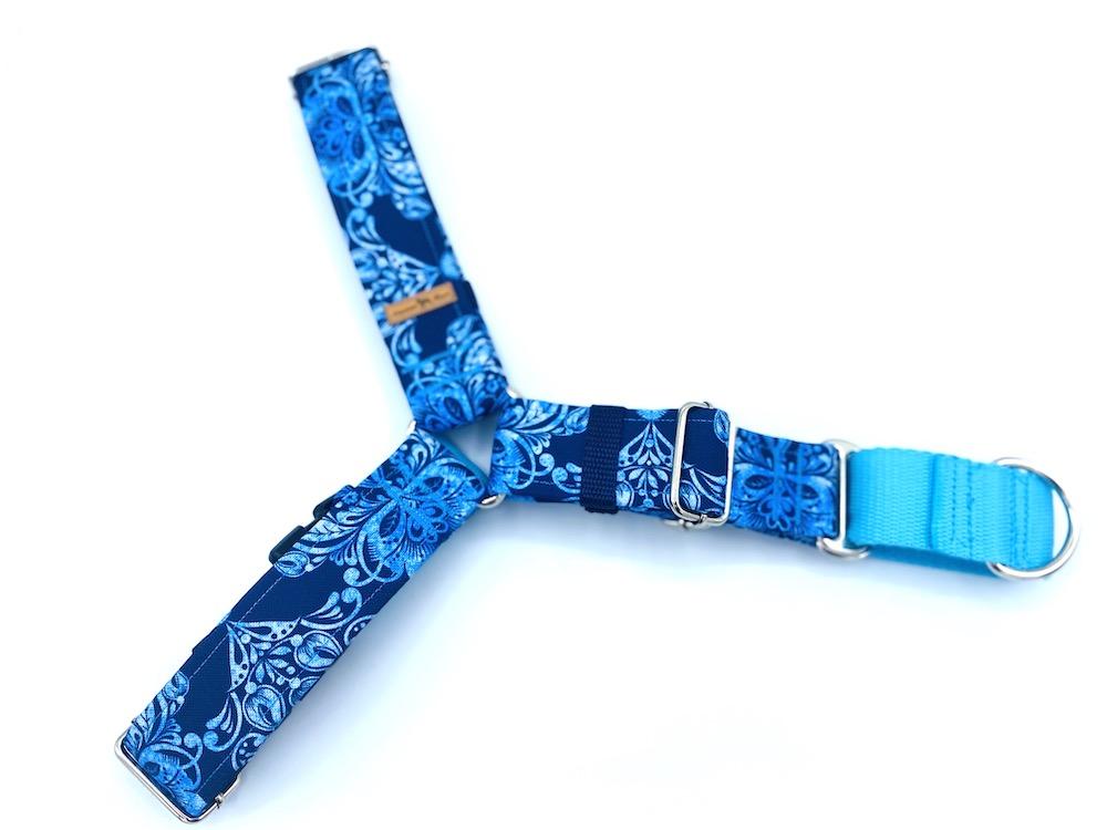 Błękitne ornamenty szelki easy walk L