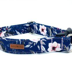 Japanese Rose dark blue obroża zatrzask z zabezpieczeniem 3 cm